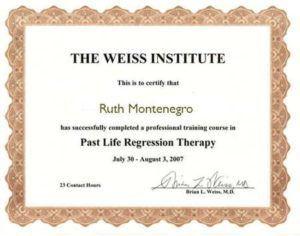 Formación de Ruth Montenegro-Diploma terapia regresiva