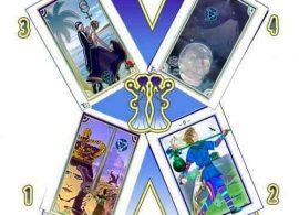 imagen de 4 cartas de la tirada de las encrucijadas