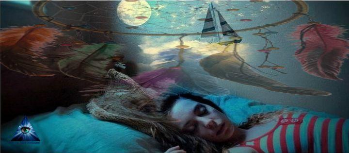 imagen de mujer acostada y soñando